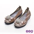 ee9 璀璨奢華~繽紛鑽飾小牛皮質感氣墊式娃娃鞋~香檳金