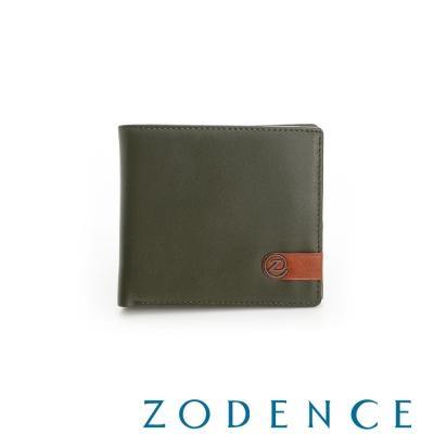 ZODENCE MAN 義大利牛皮系列配色LOGO設計零錢層短夾 綠