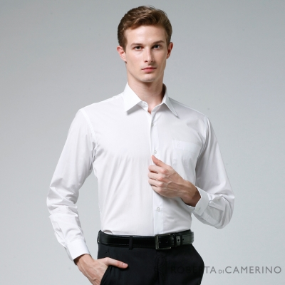 ROBERTA諾貝達 台灣製 商務型男 免燙性長袖襯衫 白色