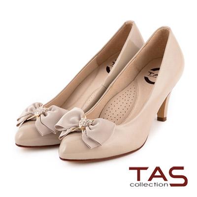 TAS-太妃Q系列-柔軟乳膠心型水鑽裝飾蝴蝶結高跟鞋-輕感米