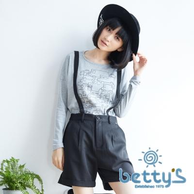 betty's貝蒂思 俏皮吊帶西裝短褲(黑色)
