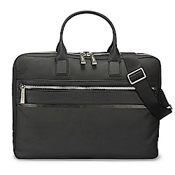 Calvin Klein 經典皮革拼接尼龍斜背/手提公事包-黑色