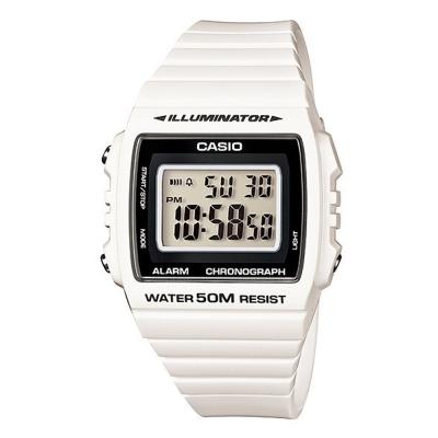 CASIO 超亮LED大螢幕方形數位錶(W-215H-7A)-皎潔白/40mm