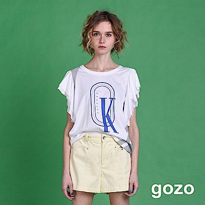 gozo OK設計字母波浪寬袖上衣(二色)