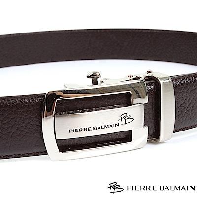 PB 皮爾帕門-經典方橢框中橫Logo款-頭層牛皮自動扣皮帶-701-咖