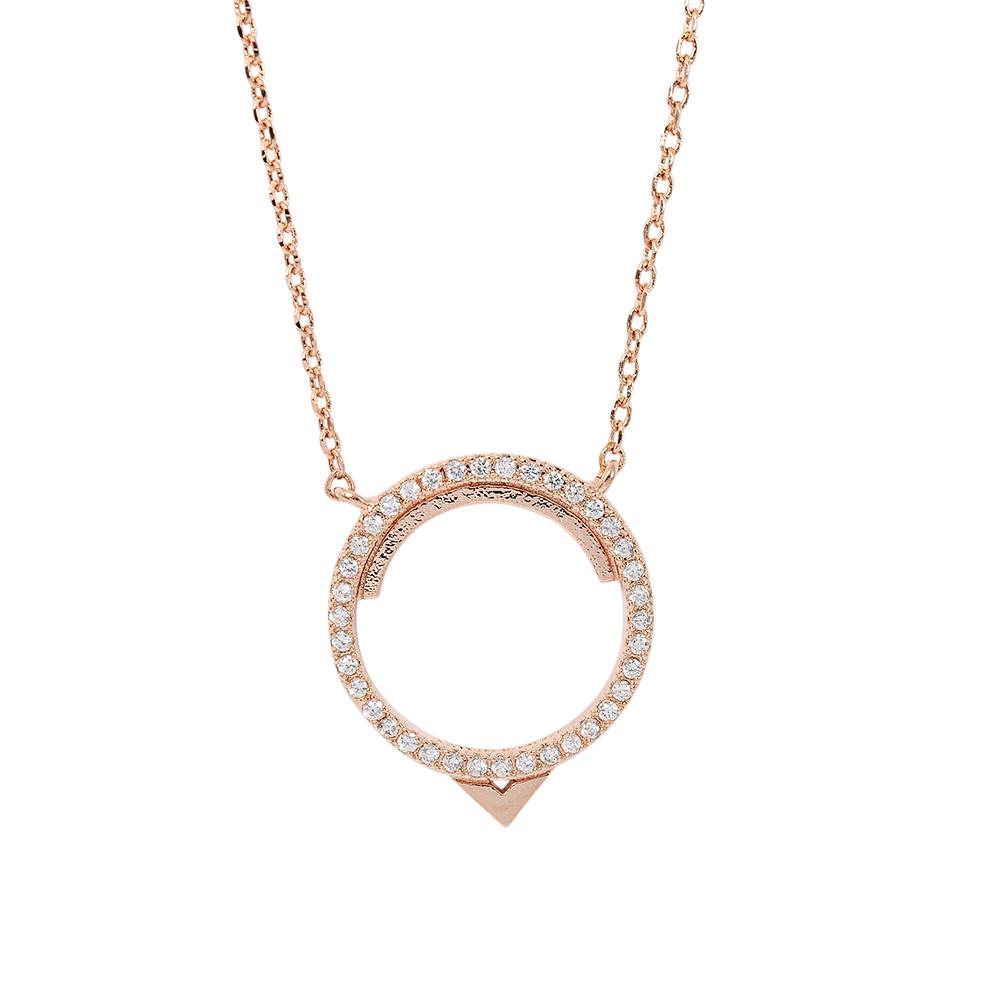 ASTRID&MIYU英國潮流品牌 圓形水鑽項鍊 玫瑰金