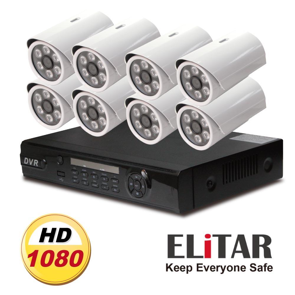 Elitar8路監控主機Sony342E八鏡頭組合