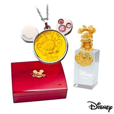 Disney迪士尼金飾 可愛蝴蝶美妮黃金/白鋼項鍊+美妮水晶印章木盒