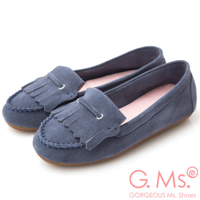 G.Ms. 牛麂皮減壓豆豆底流蘇莫卡辛鞋-藏青藍