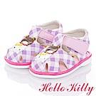 HelloKitty童鞋 好朋友系列 格紋減壓輕量嗶嗶學步鞋-紫