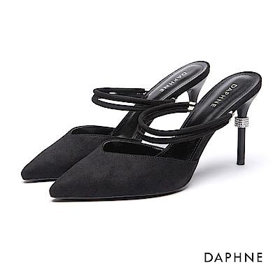 達芙妮DAPHNE 跟鞋-細帶絨面水鑽高跟鞋-黑