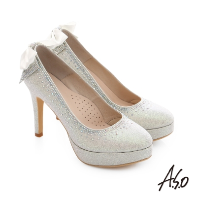 A.S.O 幸福華爾滋 金蔥布水鑽飾釦宴會高跟鞋 銀色