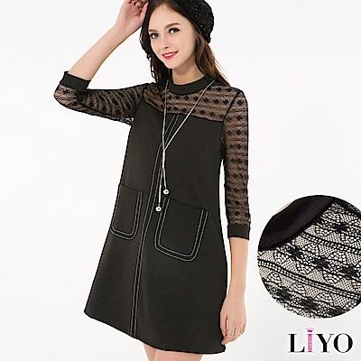 LIYO理優歐風蕾絲拼接洋裝(黑)
