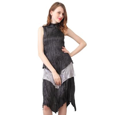 經典簡約黑灰無袖立領壓摺洋裝-玩美衣櫃
