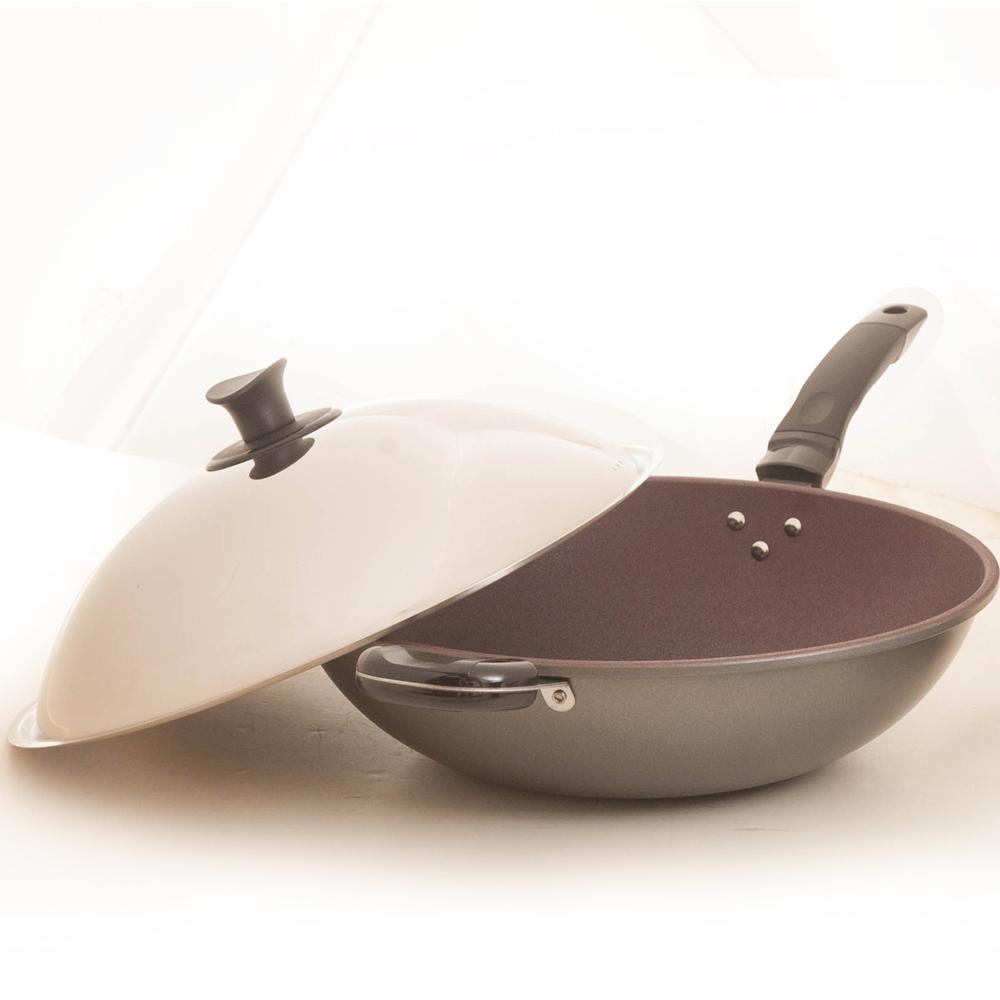 台灣好鍋 優瓷紫砂陶瓷不沾炒鍋42cm-單柄
