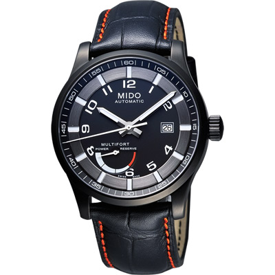 MIDO Multifort Gent 先鋒系列動力儲存機械腕錶-黑/皮帶/42mm