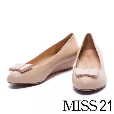 楔型鞋 MISS 21 純粹優雅蝴蝶結羊皮楔型娃娃鞋-杏