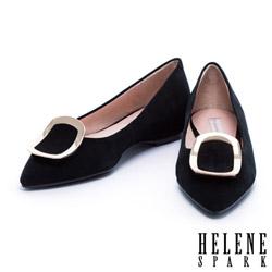 平底鞋 HELENE SPARK 質感弧形金屬方釦羊麂皮尖頭平底鞋-黑