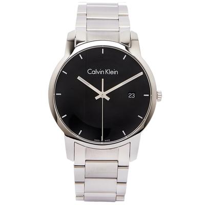CK Calvin Klein 黑色時尚風格不鏽鋼錶帶手錶-黑面x銀色/43mm
