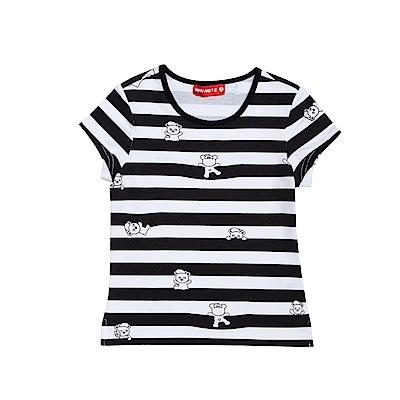 WHY AND 1/2 合身版條紋棉質萊卡T恤 5Y~10Y