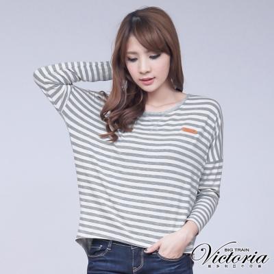 Victoria 條紋寬鬆上衣-女-灰白條