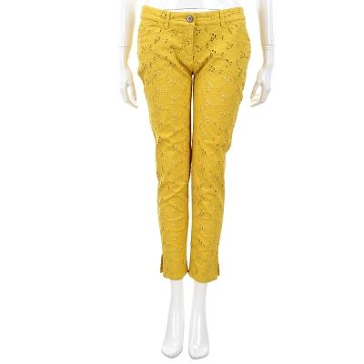 SCERVINO 黃色蕾絲縷空雕花九分褲