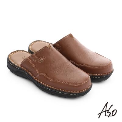 A.S.O 都會休閒 全真牛皮抗震雙核心張菲鞋 茶色