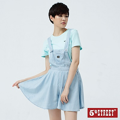 5th STREET 天絲棉牛仔吊帶洋裝-女-漂淺藍