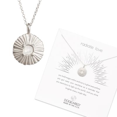 Dogeared Disc 白水晶圓牌項鍊 光芒錢幣銀項鍊 綻放愛的光芒