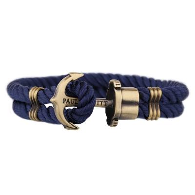 PAUL HEWITT 德國出品 PHREP 藏藍尼龍繩編織 古銅船錨手環