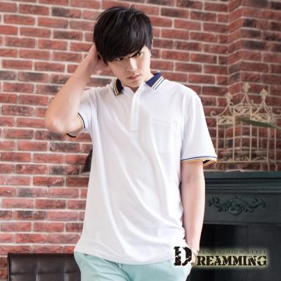 Dreamming  百搭極簡素面口袋棉質短POLO衫-共四色