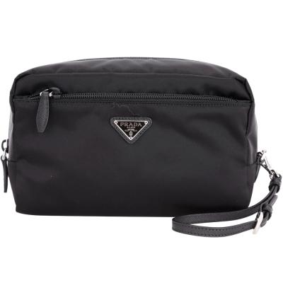PRADA Vela 三角牌尼龍可拆式手挽包(黑色)