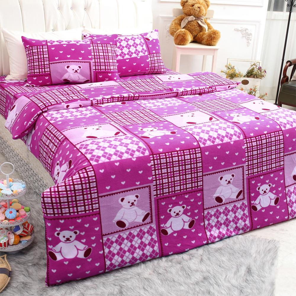 羽織美 小熊風格 雪芙絨溫暖雙人被套床包組