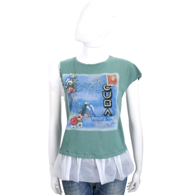 PINKO 綠色花卉鸚鵡郵票圖騰拼接紗質短袖上衣