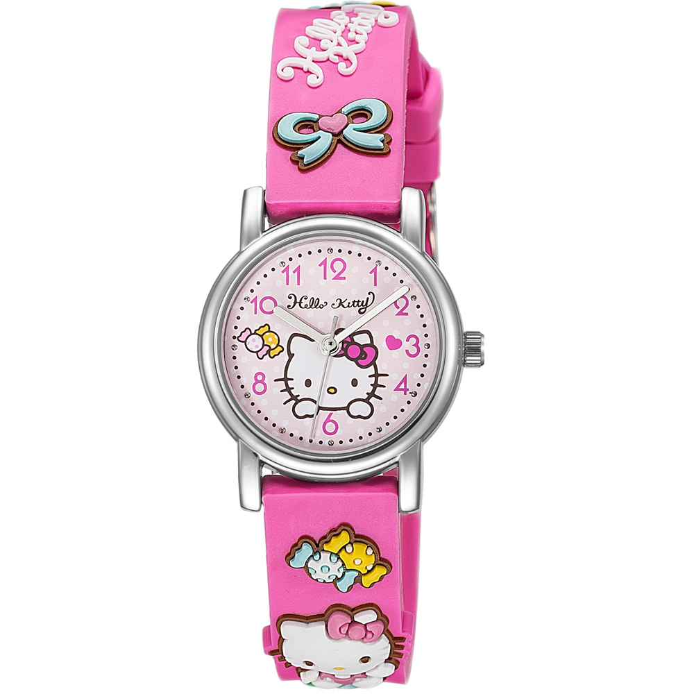 HELLO KITTY 凱蒂貓生動迷人立體圖案手錶-桃紅/27mm