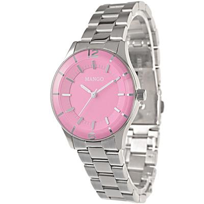 MANGO 夏日馬卡龍時尚腕錶-粉紅/34mm