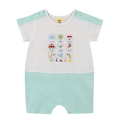 愛的世界 MYBABY 純棉圓領短袖連身褲-綠/6M~2歲