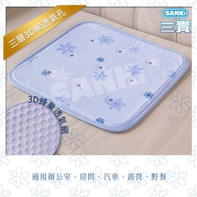 日本SANKI雪花紫3D網冰涼枕坐墊40x40cm三層1入