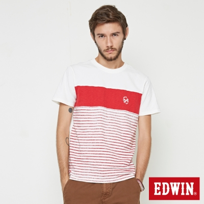 EDWIN 反面印條剪接短袖T恤-男-紅色