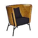 AT HOME-工業風設計仿舊雙色黃皮沙發椅(75*71*87cm)