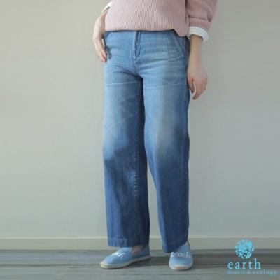 earth music  修飾刷色牛仔寬褲