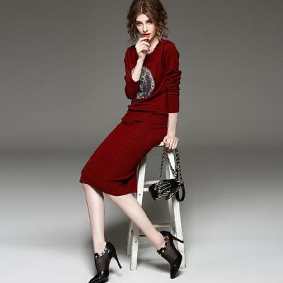 貓頭鷹釘珠針織上衣中長裙兩件套-共二色-M2M
