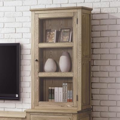 Bernice-諾伊2尺白橡全實木玻璃展示櫃(上座)-63x37x115cm