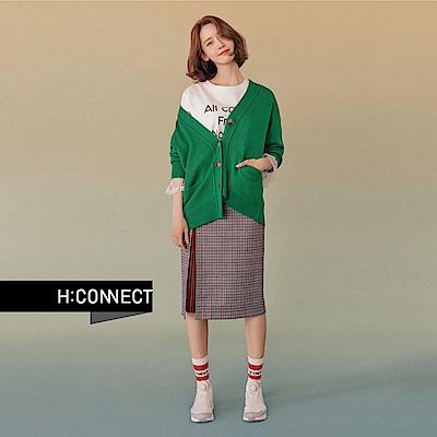 H:CONNECT 韓國品牌 女裝 - 印字網紗拼接袖T-Shirt - 白