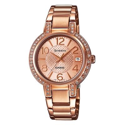 SHEEN 優雅奢華施華洛世奇日曆腕錶(SHE-4804PG-9A)-玫瑰金/32mm