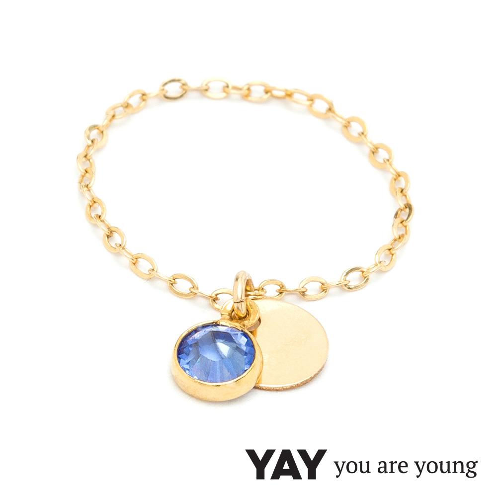 YAY You Are Young 法國品牌 Sultane 灰藍水晶鍊戒 金色
