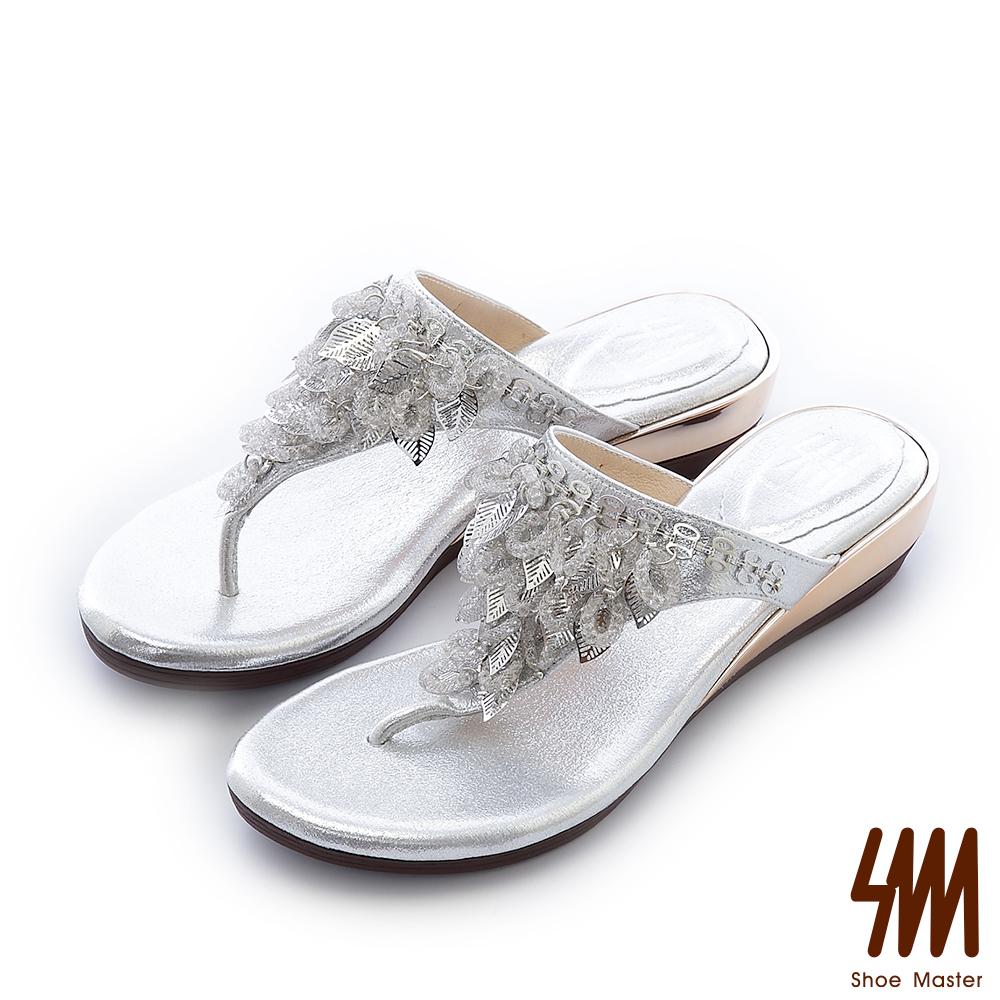 SM-晶鑽系列-金色葉女神夾腳中低楔型拖鞋-銀色