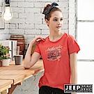 JEEP女裝 圖騰短袖T恤-橘紅色
