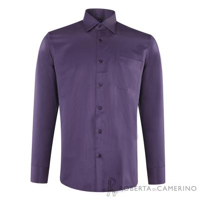 ROBERTA諾貝達 台灣製 合身版 吸溼排汗長袖襯衫 深紫