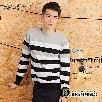 Dreamming 日系休閒雙色寬條圓領針織毛衣-共三色